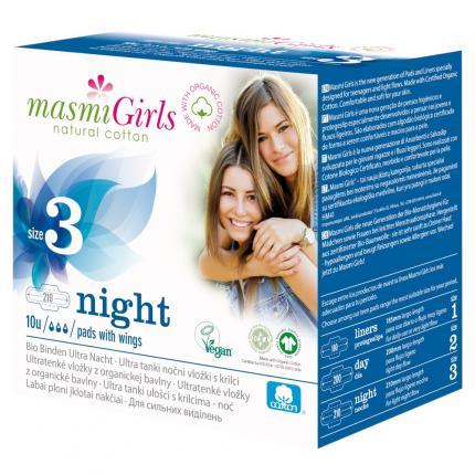 Bio Binden Girls 3 Ultra Nacht Bio Baumwolle Masmi