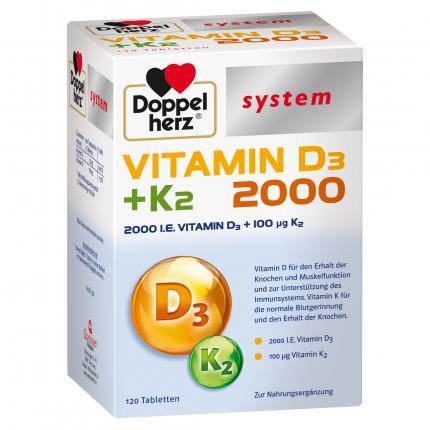 Doppelherz system VITAMIN D3 + K2 2000 I.E.