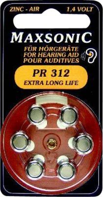 BATTERIEN für Hörgeräte Maxsonic PR312