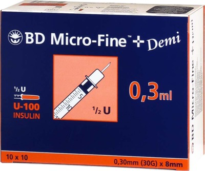 BD Micro-Fine+ Demi Insulinspritzen 0,3ml U100 0,3x8mm