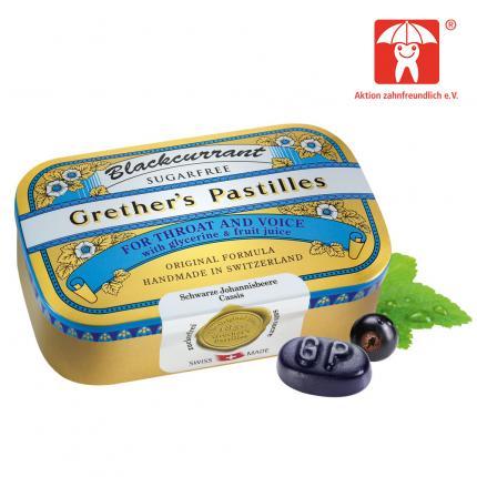 Grethers Pastilles Blackcurrant Silber zuckerfrei Dose